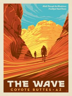 Coyote Buttes, UT: The Wave - Anderson Design Group The Wave Coyote Buttes, Vintage National Park Posters, Guache, Vintage Travel Posters, Vintage Ski, Cool Posters, Wall Collage, Wyoming, Illustration