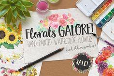 Download Watercolor Clip Art - Flowers, SALE @creativework247