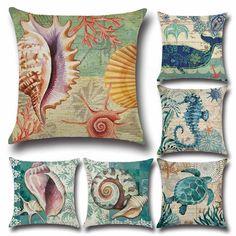 2017 Home Decor Sea Shells Cushion Cover Pillow Decorative Pillowcases Whale Turtle Printing Cushion Covers Coji #Affiliate