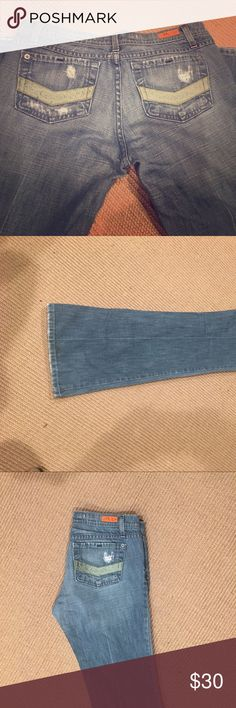 Plastic Distressed Bootcut Jeans EUC Plastic Distressed Jeans. Distressing on back pockets and spots on front of jeans. Green satin ribbon trim on back pockets. plastic Jeans Boot Cut