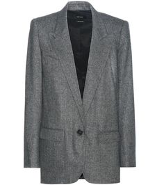 Isabel Marant - Herringbone blazer - Update your silhouette with Isabel Marant's grey herringbone blazer. The long and loose-fitting cut is perfect for styling over slim-fitted trousers, and shoulder pads give this piece flattering shape. seen @ www.mytheresa.com