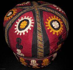 Tekke Turkmen Huge Wedding Hat. Mid-20th c. Height 20, diameter 20 cms!