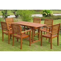 International Caravan Royal Tahiti U0027Matarou0027 Yellow Balau Hardwood Dining Set  (Set Of 7) By International Caravan. 7 Piece Dining SetPatio ...