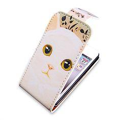 Cartoon Cat Pattern Upp-Ner Turn Over PU Leather Full Bady Fodral för iPhone 4/4S – SEK Kr. 56
