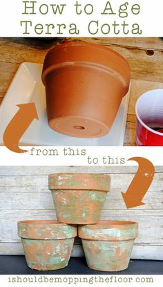 Detailed tutorial on aging terra cotta pots   Super inexpensive and simple process to give new pots a nice patina