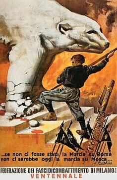 Italian WWII Fascist anti-Soviet propaganda poster