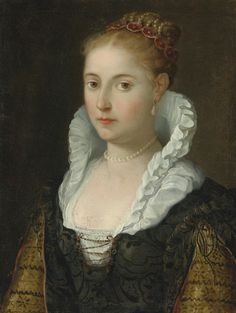 Portrait of a Lady, head and shoulders, wearing a necklace and pearls in her hair, c.1600 (Emilian School)