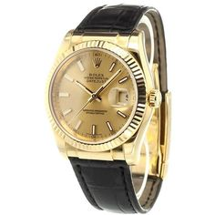 Rolex 'Datejust' analog watch ($14,190) ❤ liked on Polyvore featuring jewelry, watches, gold, rolex jewelry, pre owned watches, leather wrist watch, leather jewelry and analog watch