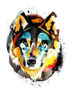 Digital Art arte tradicional e arte digital Art And Illustration, Art Illustrations, Pop Art, Watercolor Wolf, Watercolor Painting, Ouvrages D'art, Arte Pop, Living At Home, Art Design