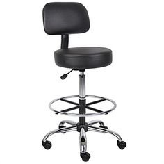 Boss Office Products Black Contemporary Drafting Chair at Lowe's. This medical stool is upholstered in durable black, antimicrobial vinyl, and equipped with a 4 In. thick molded foam seat that provides improved Stool With Wheels, Stools With Backs, Home Office Furniture, Furniture Decor, Small Furniture, Furniture Shopping, Furniture Dolly, Italian Furniture, Rustic Furniture