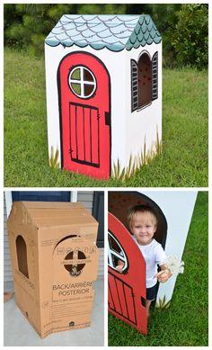 DIY cardboard box playhouse