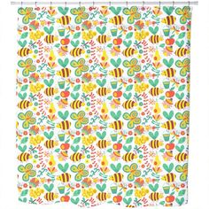 Uneekee Busy Honey Bees Shower Curtain