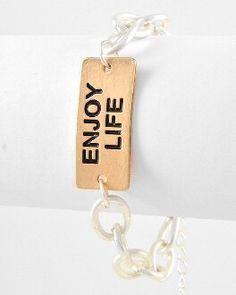 Enjoy Life Matte Gold & Silver Bracelet.  Shop now at: www.camglamm.com
