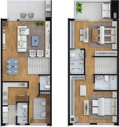 Planta tipo 3 - 2 suítes + home office