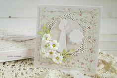 Komunijna dla dziewczynki/First Communion card for a girl First Communion Cards, Holi, Frame, Handmade, Inspiration, Decor, Picture Frame, Biblical Inspiration, Hand Made