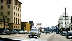 A color photo of the Sunset Strip in the 1950s.