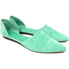 Jenni Kayne D'Orsay Suede Flat / Seafoam ($180) ❤ liked on Polyvore featuring shoes, flats, green, green flats, green shoes, suede pointed toe flats, flat shoes et pointy toe flats