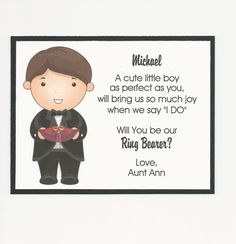 Will you be my Ring Bearer Flat card - Personalized custom Wedding Bells, Fall Wedding, Our Wedding, Wedding Things, Wedding Stuff, Dream Wedding, Wedding Ideas, Wedding Crafts, Wedding Paper