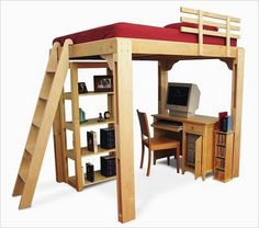 Loft Bed Plans: DIY Woodworking For Bed Builders - I want to build something like this for our tiny bedroom. We could put a desk or my sewing table under it. It would be so awesome, might as well use the 14 foot height of our room! Build A Loft Bed, Loft Bed Plans, My New Room, My Room, Dorm Room, Dreams Beds, Condo, New Beds, Apartment Living