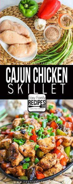 This Cajun Chicken Skillet takes only 6 ingredients and 1 skill. - Stuff to Try -FAMILY FAVORITE! This Cajun Chicken Skillet takes only 6 ingredients and 1 skill. - Stuff to Try - most favorited last month Chicken Bell Pepper Recipes, Chicken Recipes No Dairy, Chicken Peppers And Onions, Green Pepper Recipes, Chicken Skillet Recipes, No Dairy Recipes, Healthy Recipes, Gluten Dairy Free Recipes Appetizers, Recipes With Green Peppers