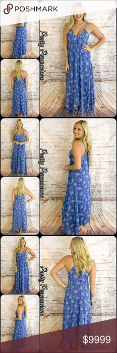 "NWT Blue Printed Handkerchief Maxi Dress NWT Blue Printed Handkerchief Maxi Dress  Available in S, M, L Measurements taken from a small  Length: 60"" Bust: 40"" Waist: 40""  Rayon Made in the USA  Features  • v-neckline • printed design • spaghetti straps • angled handkerchief bottom hemline • long, flowy skirt • non sheer • ties at back for easy fit • relaxed • soft, breathable material   Bundle discounts available  No pp or trades  Item # 1/206120400BPMD printed design maxi dress vintage…"