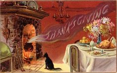 "<span class=""caption_text"">Free vintage Thanksgiving postcards: Fireplace and cat</span>"