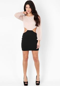 Hestell Long Sleeve Cut Out Dress