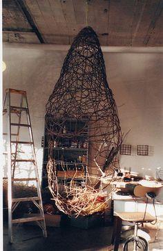 Working on ladder by Modern Fiber Lab - Sonya Yong James, via Flickr