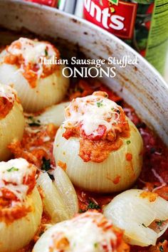 Italian Sausage Stuffed Onions - Filled with Italian sausage, tomatoes, and cheese, these Stuffed Onions are the perfect, most delicious side dish to any meal. Carrot Recipes, Onion Recipes, Sausage Recipes, Cooking Recipes, Healthy Recipes, Shallot Recipes, Italian Dishes, Italian Recipes, Vegetable Dishes