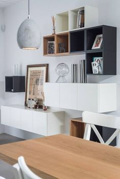 Ikea Besta shelf space for all everyday things books - pictures vases Aro . Ikea Besta shelf space for all everyday things books – pictures vases aroma chopsticks Black And White Interior, White Interior Design, Black White, Ikea Interior, Interior Photo, Interior Decorating, White Dining Room, Ikea Furniture, Furniture Design
