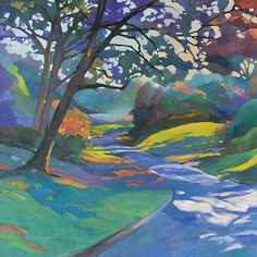Expectation large original fauve impressionist oil painting in the style of Arts & Crafts • illustration of winding, shady, tree-lined road with view of mist-covered lake in the early morning • modern craftsman mission style landscape painting by professional contemporary Louisiana artist
