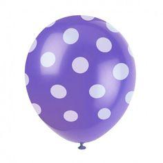 Balony fioletowe w kropki groszki