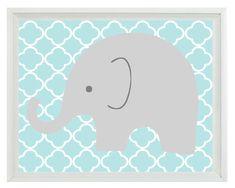 Elephant Nursery Wall Art Print - Aqua Gray Decor - Children Kid Baby Boy Room - Wall Art Home Decor 8x10 Print. $15.00, via Etsy.