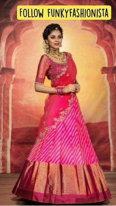 Lehenga Designs Simple, Wedding Saree Blouse Designs, Half Saree Designs, Half Saree Lehenga, Lehenga Saree Design, Lehenga Style, Anarkali, Indian Bridal Outfits, Indian Bridal Fashion