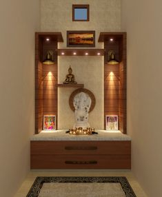 Pooja Room Door Design, Home Room Design, Interior Design Living Room, Living Room Designs, Bedroom Cupboard Designs, Wardrobe Design Bedroom, Temple Design For Home, Mandir Design, Room Partition Designs