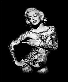 - My list of the most creative tattoo models Arte Marilyn Monroe, Marilyn Monroe Wallpaper, Marilyn Monroe Drawing, Marilyn Monroe Tattoo, Marilyn Monroe Photos, Body Art Tattoos, Girl Tattoos, Aztecas Art, Ange Demon