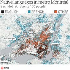 Native Languages in Metro Montreal The American Sociological Association Annual Meetings are happening in Montreal later this week. Here's a map you need to see illustrating the spread of English- and French-language speakers. Annual Meeting, French Language, Montreal, Nativity, Maps, Languages, Speakers, Illustration, Artwork