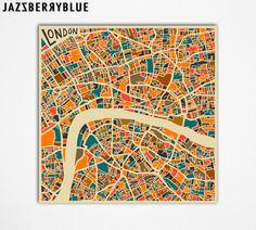 LONDON MAP, Giclee Fine Art Print by Jazzberry Blue #Etsy