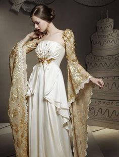 Check these sleeves. Definitely fit for a princess on a white-veil occasion. Beautiful Gowns, Beautiful Outfits, Pretty Outfits, Pretty Dresses, Mini Dresses, Fantasy Gowns, Dream Dress, Costume Design, Designer Dresses