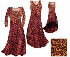 Customize Orange Leopard Glittery Slinky Print Plus Size & Supersize Standard or Cascading A-Line or Princess Cut Dresses & Shirts, Jackets, Pants, Palazzo's or Skirts Lg to 9x