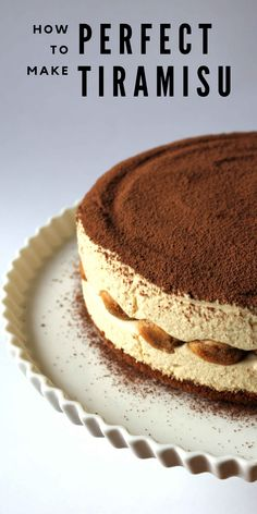 Tiramisu Cheesecake: Crust 1 cups gingersnap cookie crumb cup butter, melted Filling 2 tablespoons gelatin 2 cups heavy cream cup sugar 4 large egg yolks teaspoon salt 500 gram Mascarpone cheese cup Espresso 10 to 12 lady fingers cup cocoa powder No Bake Desserts, Just Desserts, Delicious Desserts, Dessert Recipes, Dessert Healthy, Gourmet Desserts, Gourmet Foods, Plated Desserts, Dessert Ideas