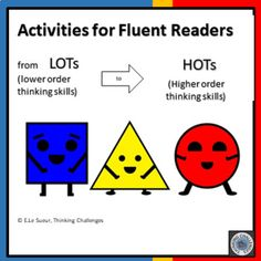 Independent differentiated reading activities for fluent readers with a focus on developing and supporting higher order thinking skills. Higher Order Thinking, Independent Reading, Critical Thinking Skills, Reading Activities, Math Centers, Teacher Resources, School Stuff, Challenges, Coding