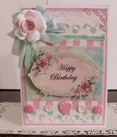 Shabby Chic Handmade Happy Birthday 2 Card Sewn and Layered w Envelope | eBay