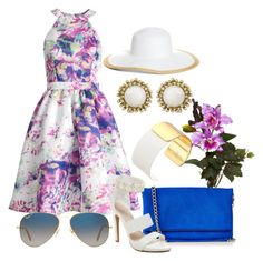 """""""Untitled #1815"""" by hastypudding ❤ liked on Polyvore featuring Nearly Natural, Express, Notte by Marchesa, Kate Spade, Kendra Scott, Ray-Ban and Brooks Brothers"""
