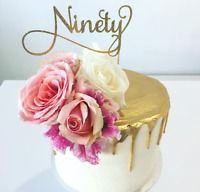 Ninety Cake Topper - Assorted Colours - 90th Birthday - Happy 90th - Milestone