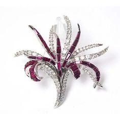 BOUCHER Ruby Baguette Crystal Rhinestone Floral Spray Pin