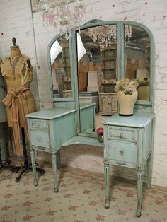 Vintage Painted Cottage Aqua Chic Triple Mirror by paintedcottages