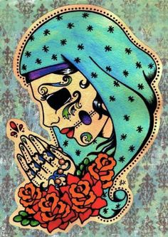 dia de los muertos art Day of the Dead Virgin Mary Art Beat, Illustrations, Illustration Art, Los Muertos Tattoo, Tatuagem Old Scholl, Oldschool Tattoos, Day Of The Dead Art, Sugar Skull Art, Sugar Skulls