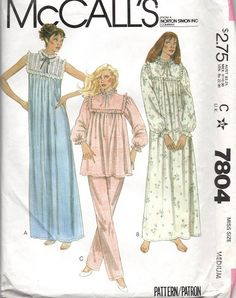 Nightgown Pattern Pajamas Ruffled Yoke McCall's Vintage Sewing Women's Misses Size Petite 6 - 8 Bust 5 - 5 Inches by SelmaLee on Etsy Vintage Dress Patterns, Vintage Dresses, Vintage Outfits, Vintage Wear, Doll Patterns, Vintage Clothing, Vintage Style, Sleepwear Women, Pajamas Women