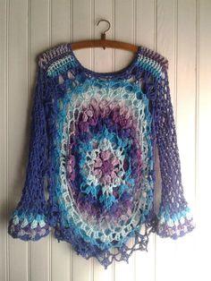 Crochet Mandala Pattern, Form Crochet, Easy Crochet, Knit Crochet, Crochet Patterns, Cotton Crochet, Crochet Tunic, Crochet Jacket, Crochet Clothes